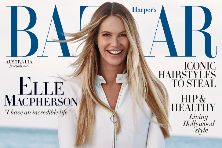 Elle Macpherson on the Cover of Harper's Bazaar Australia, Hair/Makeup by Me